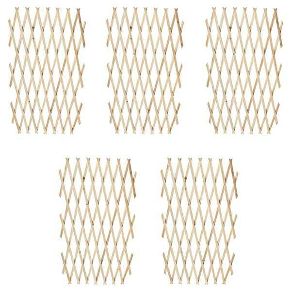 vidaXL Extendable Wood Trellis Fence 5' 11' x 2' 11' Set of 5
