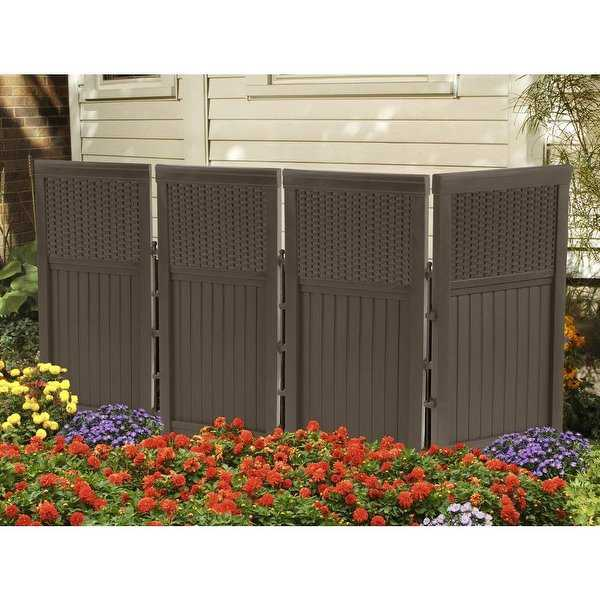 Suncast FSW4423 Resin Wicker Outdoor Screen Enclosure, Java, 23' x 44'