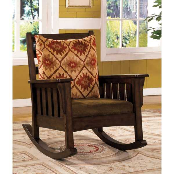Rosewood Traditional Dark Oak Rocking Accent Chair by FOA