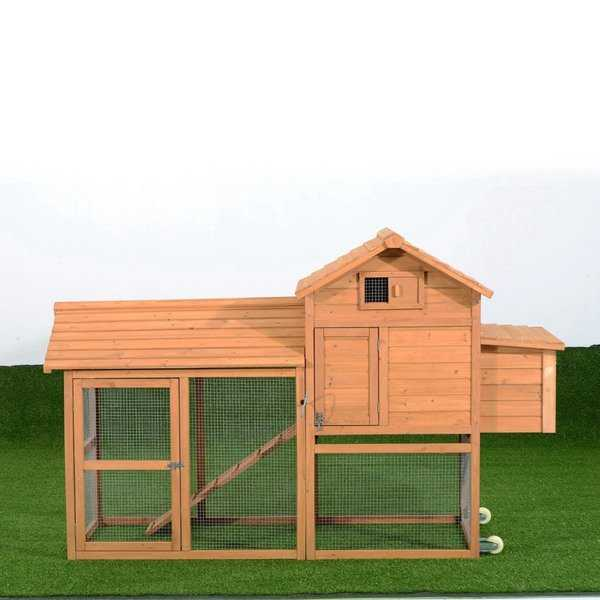Pawhut Deluxe Portable Backyard Chicken Coop w/ Fenced Run and Wheels