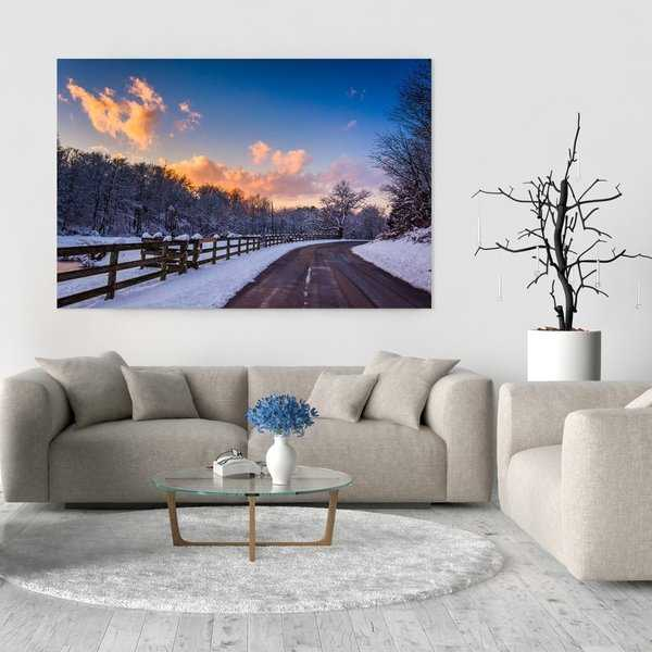Noir Gallery Rural Pennsylvania Road Winter Sunset Photo Print on Metal.